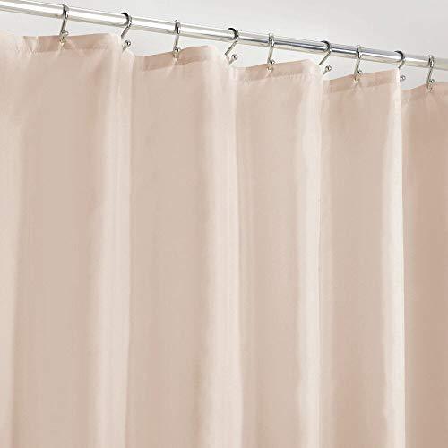 mDesign Duschvorhang Anti-Schimmel – wasserabweisender Vorhang für Dusche & Badewanne – moderner Badewannenvorhang mit zwölf verstärkten Löchern & Gewichten im Saum – pink