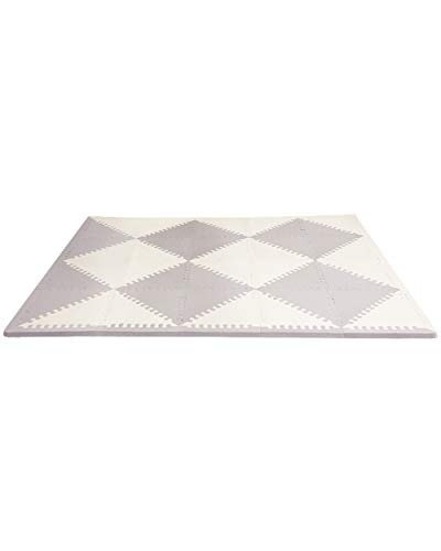 Skip Hop Foam Baby Play Mat: Playspot Interlocking Foam Floor Tiles, 70' x 56', Grey/Cream
