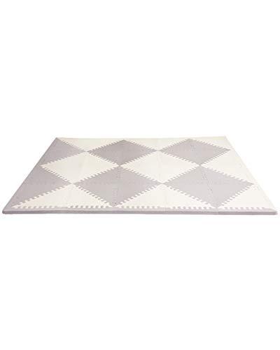Skip Hop Foam Baby Play Mat: Playspot Interlocking Foam Floor Tiles, 70' x 56', Grey/Cream