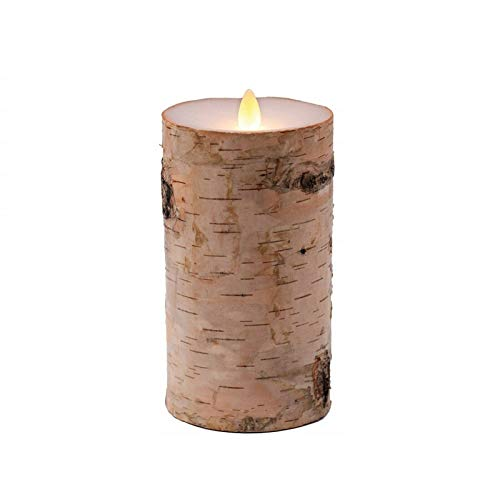 Braides Candles and Holders Birch Bark LED Flameless Candle,Real Wax,Moving Wick, with Timer and Control (Eco Candles and Quality Holders)