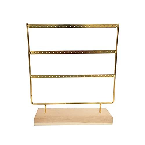 QKFON Soporte para pendientes de 3 niveles, soporte de madera para joyas, con 69 agujeros, soporte para pendientes, pendientes, collares, expositores, 24 x 7 x 27 cm