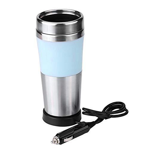 Auto Heizung Wasserkocher, 350ml 12V Auto Lebensmittelqualität Edelstahl Zigarettenanzünder Heizung Tasse elektrischer Wasserkocher für Wasser Kaffee Tee(Blau)