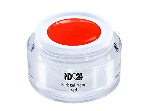 5ml - UV LED FARBGEL - Gel Neon red - ROT Color NagelGel hochdeckend mittelviskos für Nageldesign Modellage - French Nail Art Gel - Studio Qualität - MADE IN GERMANY