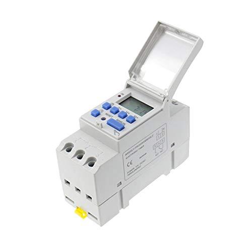 JXMY Sistema de irrigación domiciliaria Precisión y Anti-interferencia de la CA 220V for Carril DIN semanal LCD Temporizador programable Interruptor Relé de Tiempo - Blanco para jardín