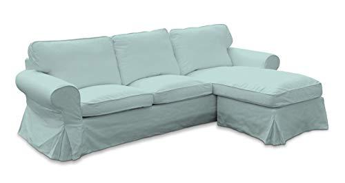 Dekoria Ektorp 2-Sitzer Sofabezug mit Recamiere Sofahusse passend für IKEA Modell Ektorp hellblau