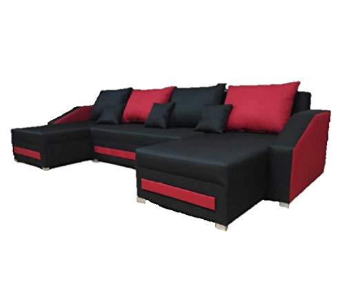 Ecksofa Schlaffunktion Bettfunktion Couch U-Form Polstergarnitur Wohnlandschaft Polstersofa mit Ottomane Couchgranitur Morena U SCHWARZ + HELLGRAU (SCHWARZ...