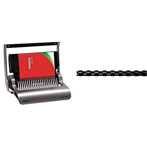 Fellowes quasar + 500 encuadernadora manual de canutillo de plástico, uso continuo + Canutillos de plástico (A4, 19 mm) para encuadernadoras de canutillo de plástico