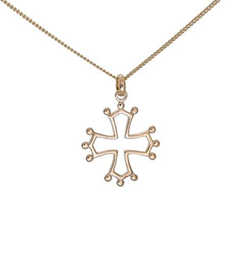 Set Halskette und Anhänger, vergoldet, Tolosanerkreuz Languedoc, Toulouse, Provence, mit Kette 50cm, in Schatulle
