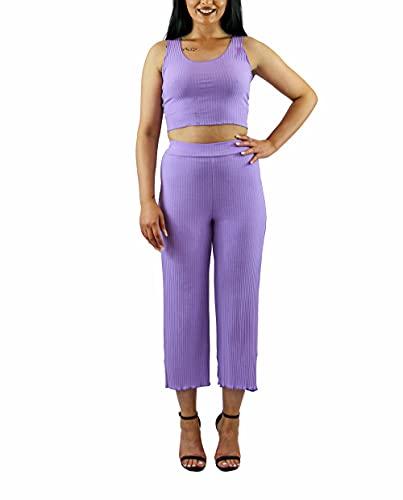 Italy Mode Conjunto de 2 piezas de camiseta y pantalón para mujer, elásticos, para tiempo libre, deporte, negro, blanco, azul, verde, rosa, beige, rojo, rojo oscuro, coral, lila, morado, Talla única