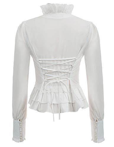 SCARLET DARKNESS Women's Steampunk Victorian Long Sleeve Lacing Button Blouse Tops White Size XXL steampunk buy now online