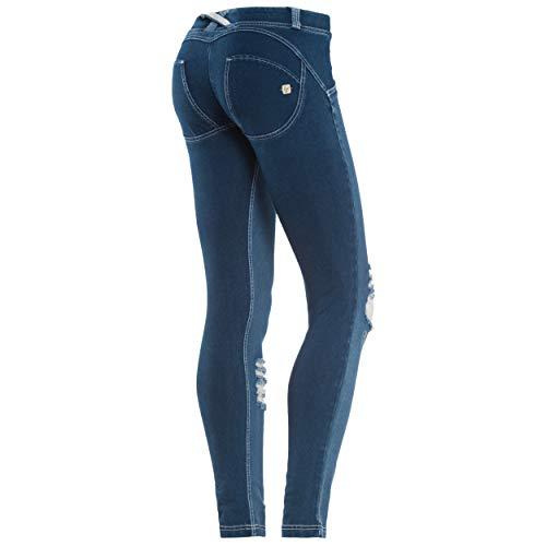 FREDDY WR.UP Skinny Vita Bassa con Fronte in True Denim con Strappi - Jeans Scuro-Cuciture Bianche - Large