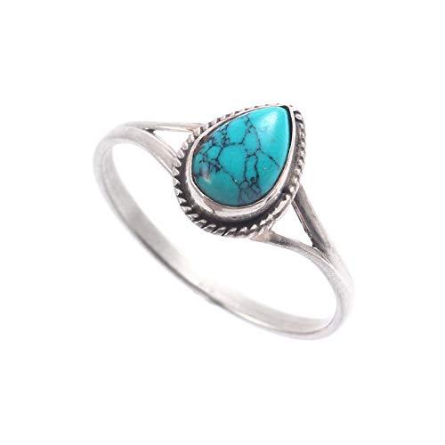 Anillo de plata de ley 925 con turquesa pera, piedra preciosa natural lisa, anillo unisex de plata de ley 925, regalo de San Valentín, talla de anillo 9 de EE. UU.