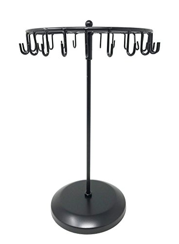 Bejeweled Display Black Color 24 Hooks Rotating Necklace holer/Jewelry Organizer Display Stand w/Gift Box