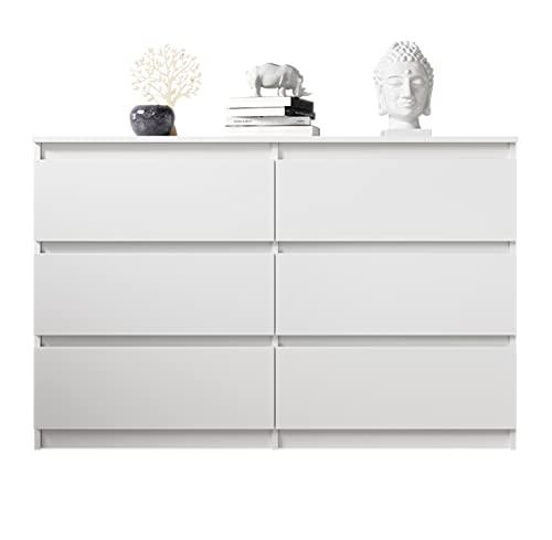 FURNIX Kommode mit 6 Schubladen 119 x 35 x 77 cm in weiß matt - Schubladenkommode Holz Mehrzweckschrank für Flur Schlafzimmer Wohnzimmer Badezimmer Kinderzimmer als Sideboard Highboard Kippschutz