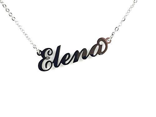Collana Donna con Nome Elena in Acciaio in corsivo Elegante Girocollo Regolabile Anallergico Color Argento Confezione Regalo Inclusa