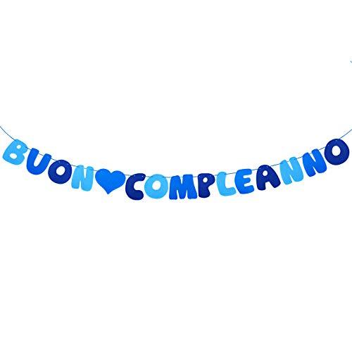 MEJOSER Festone Buon Compleanno Multicolore Striscione Bandiera Banner Ghirlanda Addobbi Decorazione Casa Festa Compleanno in Italiano (Blu)