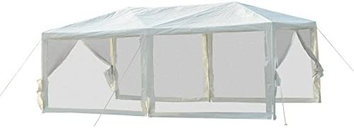 Outsunny 10' x 20' Gazebo Canopy Tent with 4 Removable Mesh Side Walls for Events & Weddings, Green