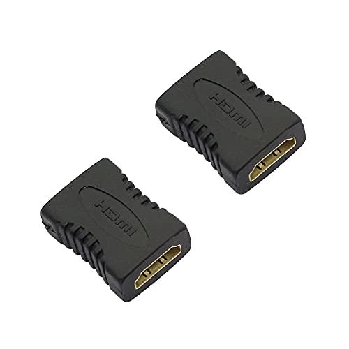 QIANRENON HDMI hembra a hembra adaptador HDMI conector de cabeza recta acoplador extensor convertidor soporte 1080P para proyector de TV, ordenador portátil, PC, etc. versión 1.4 paquete de 2, negro