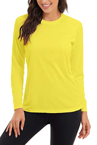 SMENG Camiseta lisa de manga larga con abertura lateral para mujer, 2- amarillo, Small