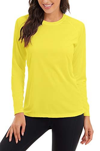 SMENG Camiseta de manga larga con protección solar UPF 50+ para mujer de secado rápido, 2- amarillo, X-Large