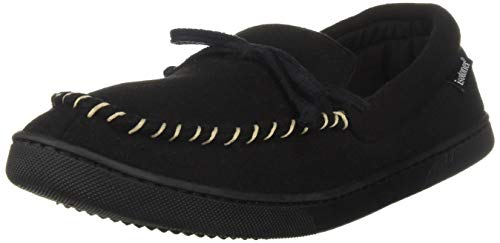 isotoner Men's Memory Foam Blake Moccasin Slipper Faux Wool House Shoe, Indoor Outdoor Comfort Black