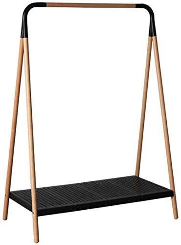 GFF Perchero nórdico de Madera Perchero Perchero Piso Dormitorio Hogar Simple Moderno Minimalista Multifunción (142 * 103 * 54 cm) (Color: Negro)