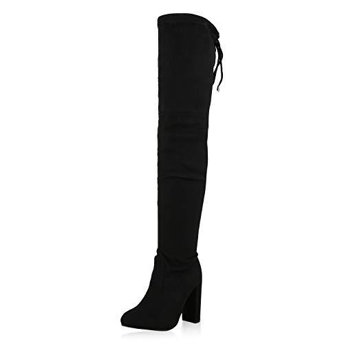 SCARPE VITA Damen Overknees Stiefel High Heel Boots Wildleder-Optik Schuhe 173666 Schwarz Black 37
