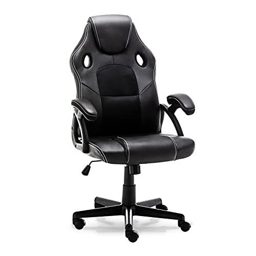 Silla para videojuegos, respaldo alto, ergonómica, con reposacabezas y soporte lumbar, silla de escritorio para el hogar o la oficina, ajustable, malla de piel sintética, silla de ordenador (negro)
