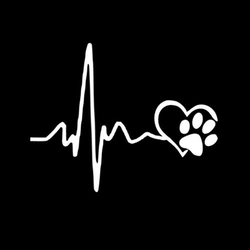Mikiya 13cm * 10.3cm Auto Dekoration StickersHeartbeat Love Hunde-Abdrücke Lustige Auto-Aufkleber Pull Fuel Tank Pointer Reflective Vinylauto-Aufkleber Aufkleber Kreative Schwarz/Weiß
