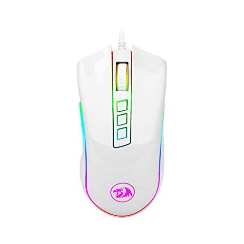 Redragon M711W Cobra White Gaming-Maus, optischer Sensor, Pixart P3325, 10.000 DPI, RGB-Beleuchtung, 8 programmierbare Tasten, integrierter Speicher, 20 Millionen Klicks