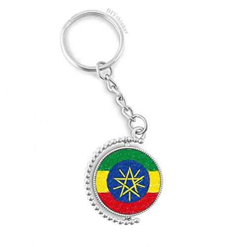 DIYthinker Mannen Strepen Ethiopië Vlag Crayon Tekenen Draaibare Sleutelhanger Ring Sleutelhouder 1,2 inch x 3,5 inch Multi kleuren