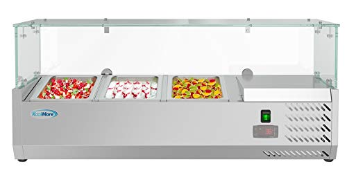 KoolMore 40' Refrigerated Countertop Condiment Prep Rail Sandwich Prep Station with Glass Sneeze Guard - Includes Three 1/3 Pans, Silver (SCDC-3P-SSL)