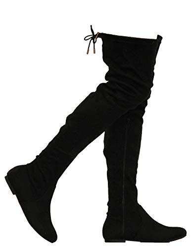 MVE Shoes Womens Fashionable Flat Over The Knee Boots - Comfortable Suede Adjustable Boots, Black Suede 11