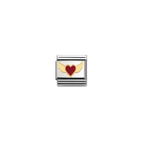 Nomination Composable Classic Love Edelstahl, Email und 18K-Gold (Beflugeltes Herz ROT) 030207