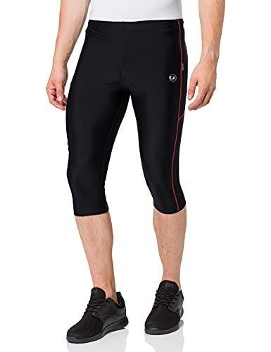 Ultrasport Pantalones de correr para hombre – pantalones de fitness 3/4 para hombre, con efecto de compresión y función de secado rápido, para fútbol, correr, marcha nórdica, ciclismo y otros deportes, Negro/Rojo, L