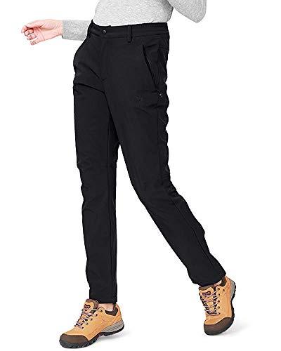 CAMEL CROWN Softshellhose Damen Wasserdicht Winddicht Fleece Gefüttert Outdoor Wandern Skihose Isolierende Hose für Damen Schwarz M