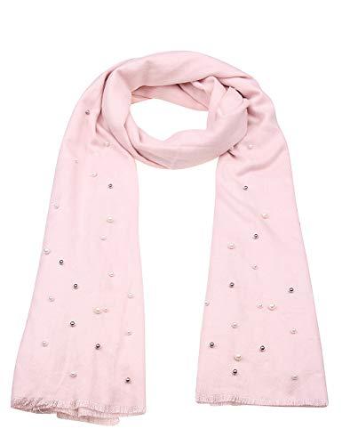 Leslii Damen-Schal Perlen-Schal Statement-Schal rosa Schmuck-Schal Poncho weicher Winter-Schal Rosa Pastell Weiß Silber