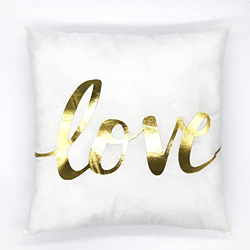 Bronzing Series Jj-101 Super Soft Short Plush Cushion Letter He Queen Impresión Grande Funda Almohada Decoración Sofá Decoración Hogar Decoración 45X45