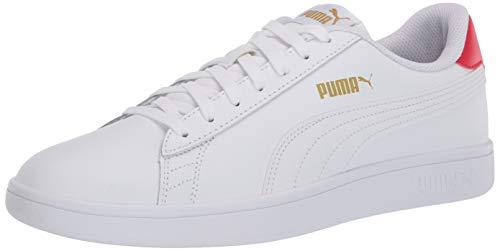 PUMA Smash V2 Sneaker, White-High Risk red Team Gold, 7 M US