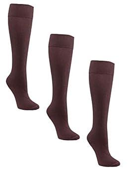 Womens Knee High Diabetic Socks by Sugar Free Sox | Seamless Toe | Non-Binding Top - 3 Pairs  9-11 Brown