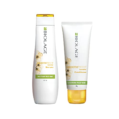 Biolage Smoothproof Shampoo + Conditioner Combo for Frizzy Hair, Cleanses, Controls Frizz, Smoothens Rough Ends, Paraben Free, 200ml & 98g (Pack of 2)