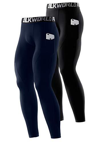 SILKWORLD Men's Compression Pants Pockets Cool Dry Athletic Leggings Baselayer Sports Running Tights (Pack of 2), 2 Pack_Black+Dark Navy Blue, Large