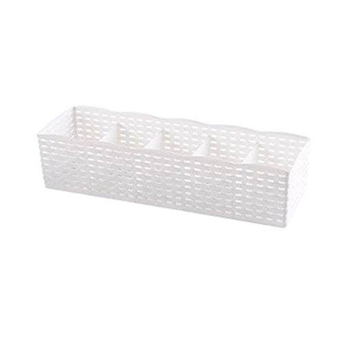 Generic 2 pcs Rangement boîte Organisateur 5 grilles Chaussettes Soutien-Gorge Organisateur boîte de Rangement Maison boîtes en Plastique pour Le Stockage-Blanc