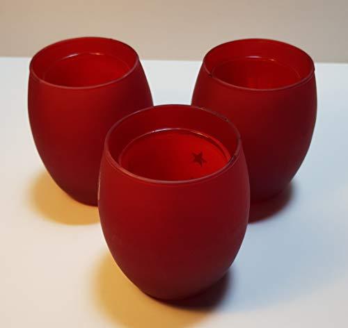 Teelichthalter Glas rot zweigeteilt, doppelwandig mit DREI Motiven (Engel, Sterne, Rentier) ca. 9cm hoch Dm ca. 7,5 cm
