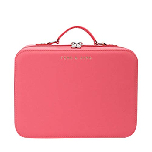 TOPBATHY Makeup Travel Storage Case Cosmetic Toiletries Carrying Bag Makeup Brush Mirror Organizer Large Capacity Makeup Jewelry Pouch