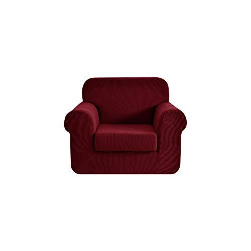 Ebeta 2-Pezzi Copridivano Copripoltrona Jacquard, Fodere copridivano coprisedia, Elasticizzato Sofa Cover Coprisofà Poltrona 1 Posto (Vino Rosso, 85-115 cm)