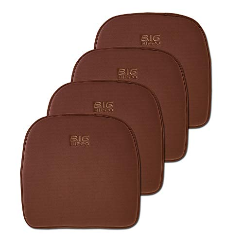 Big Hippo Chair Pads, Memory Foam Chair Seat Cushion Non Slip Rubber Back Thicken Chair Padding with Elastic Bands for Home Office Outdoor Seats (Brown,4 Pack)