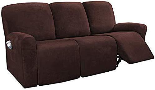 WLVG 8 piezas fundas de sofá reclinables de terciopelo, elásticas para sofá de 3 fundas de sofá, gruesas, suaves, lavables, con parte inferior elástica (A)