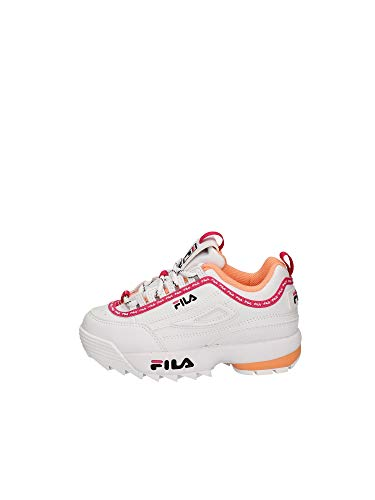 FILA Disruptor logo infants Sneaker Unisex - Bimbi, Bianco (White/Beetroot purple), 27 EU