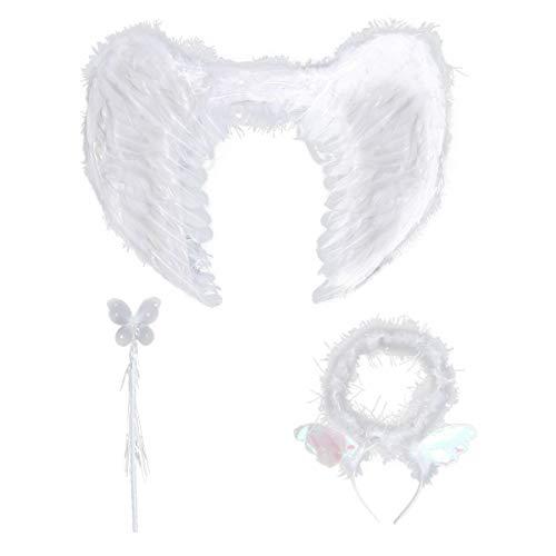 Amosfun 3pcs Disfraces de Angel Alas de ángel de Plumas con Aureola y Varita Media Talla S